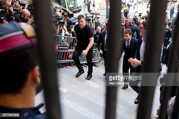 Lionel Messi of FC Barcelona arrives at the courthouse on June 2 2016 in Barcelona Spain Lionel Messi and his father Jorge Messi who manages his...