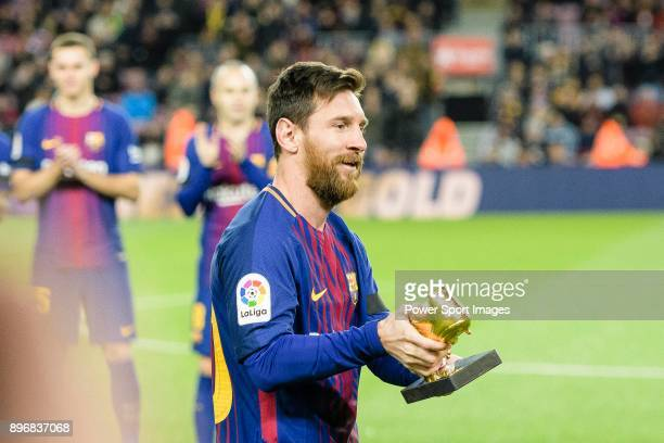 Lionel Messi of FC Barcelona Awarded 4th European Golden Shoe during the La Liga 201718 match between FC Barcelona and Deportivo La Coruna at Camp...