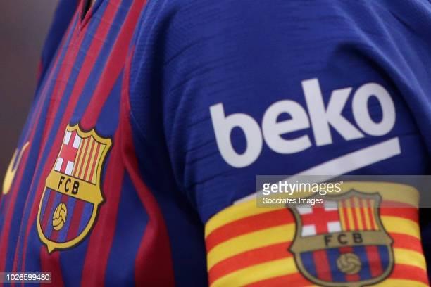 Lionel Messi of FC Barcelona captain during the La Liga Santander match between FC Barcelona v SD Huesca at the Camp Nou on September 2, 2018 in...