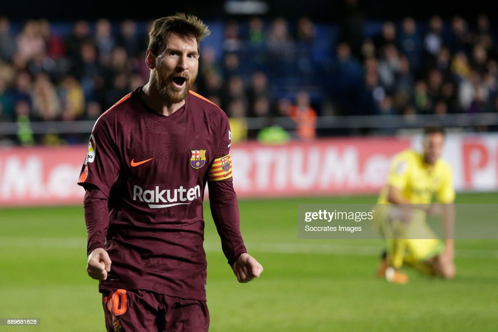 Lionel Messi of FC Barcelona celebrates 0-2 during the Spanish Primera Division match between Villarreal v FC Barcelona at the Estadio de la Ceramica on December 10, 2017 in Castellon Spain