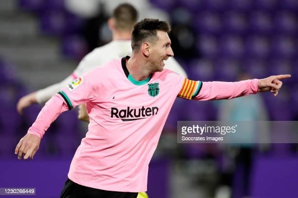 Lionel Messi of FC Barcelona celebrates 0-3 during the La Liga Santander match between Real Valladolid v FC Barcelona on December 22, 2020