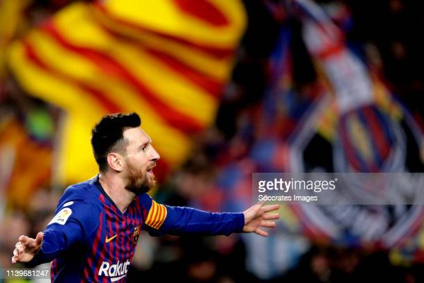 Lionel Messi of FC Barcelona celebrates 10 during the Spanish Copa del Rey match between FC Barcelona v Levante at the Camp Nou on April 27 2019 in...