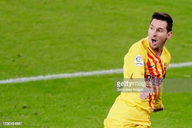 Lionel Messi of FC Barcelona celebrates 1-2 during the La Liga Santander match between Athletic de Bilbao v FC Barcelona at the Estadio San Mames on...