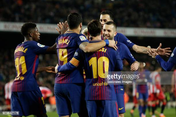 Lionel Messi of FC Barcelona celebrates 20 with Ousmane Dembele of FC Barcelona Luis Suarez of FC Barcelona Jordi Alba of FC Barcelona Sergio...