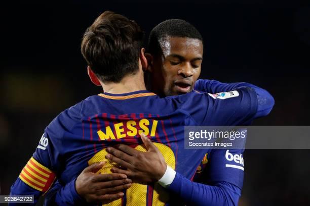 Lionel Messi of FC Barcelona celebrates 21 with Nelson Semedo of FC Barcelona during the La Liga Santander match between FC Barcelona v Girona at the...