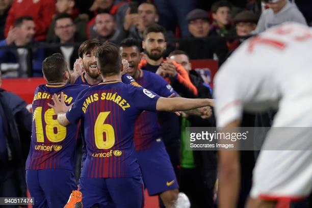 Lionel Messi of FC Barcelona celebrates 2-2 with Jordi Alba of FC Barcelona, Denis Suarez of FC Barcelona during the La Liga Santander match between...