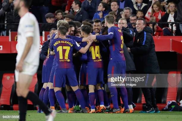 Lionel Messi of FC Barcelona celebrates 22 with Paco Alcacer of FC Barcelona Philippe Coutinho of FC Barcelona Jasper Cillessen of FC Barcelona...