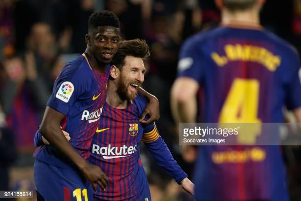 Lionel Messi of FC Barcelona celebrates 31 with Ousmane Dembele of FC Barcelona during the La Liga Santander match between FC Barcelona v Girona at...