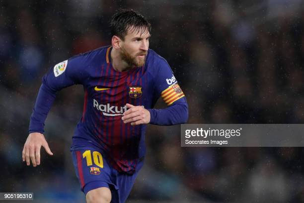 Lionel Messi of FC Barcelona celebrates 42 during the La Liga Santander match between Real Sociedad v FC Barcelona at the Estadio Anoeta on January...