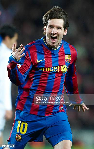 Lionel Messi of FC Barcelona celebrates a goal during the La Liga match between Barcelona and Getafe at Camp Nou on February 6 2010 in Barcelona Spain