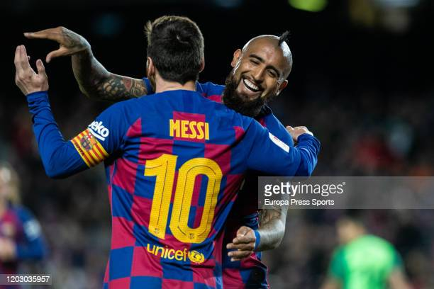 Lionel Messi of FC Barcelona celebrates a goal with Arturo Vidal Spanish Cup, Copa del Rey, football match played between FC Barcelona and CD Leganes...