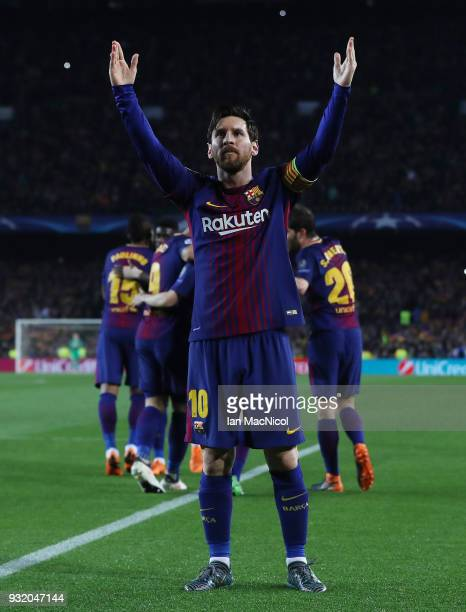 Lionel Messi of FC Barcelona celebrates after he scores his team's third goal during the UEFA Champions League Round of 16 Second Leg match FC...