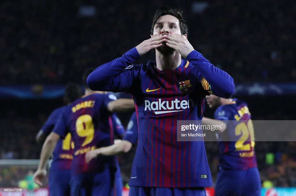 Lionel Messi of FC Barcelona celebrates after he scores his team's third goal during the UEFA Champions League Round of 16 Second Leg match FC Barcelona and Chelsea FC at Camp Nou on March 14, 2018 in Barcelona, Spain.