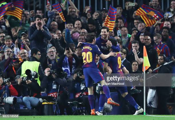 Lionel Messi of FC Barcelona celebrates after he scores the opening goal during the UEFA Champions League Round of 16 Second Leg match FC Barcelona...