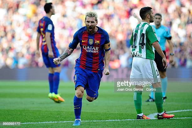 Lionel Messi of FC Barcelona celebrates after scoring a goal during the Spanish League match between FC Barcelona vs Real Betis Balompié at Nou Camp...