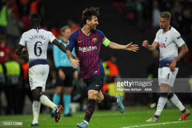 Lionel Messi of FC Barcelona celebrates after scoring a goal to make it 24 during the Group B match of the UEFA Champions League between Tottenham...
