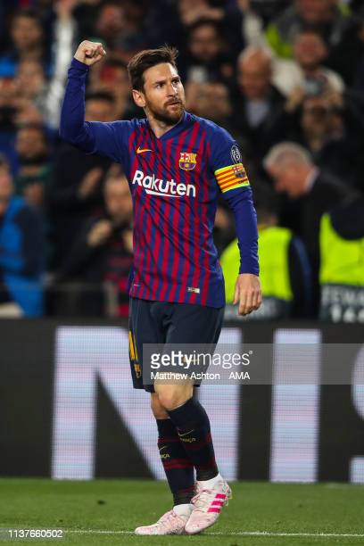 Lionel Messi of FC Barcelona celebrates after scoring a goal to make it 1-0 during the UEFA Champions League Quarter Final second leg match between...