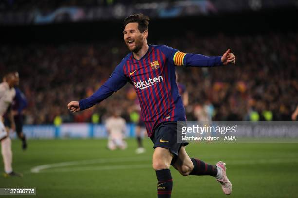 Lionel Messi of FC Barcelona celebrates after scoring a goal to make it 2-0 during the UEFA Champions League Quarter Final second leg match between...