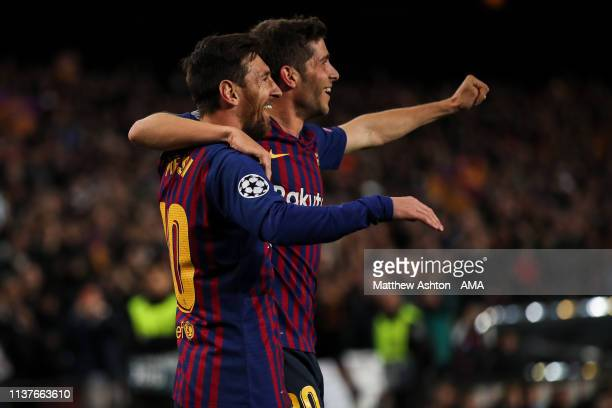 Lionel Messi of FC Barcelona celebrates after scoring a goal to make it 20 during the UEFA Champions League Quarter Final second leg match between FC...
