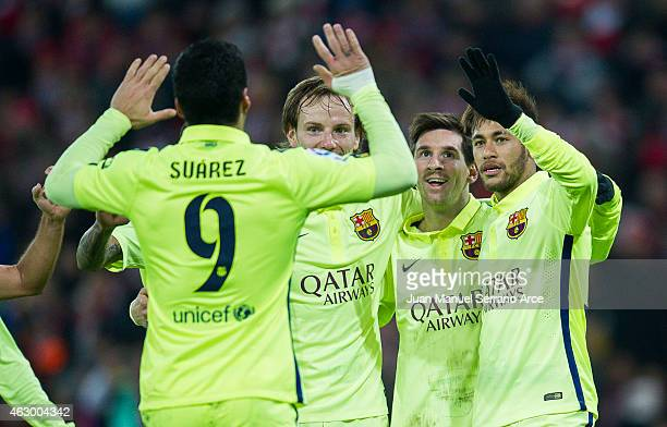 Lionel Messi of FC Barcelona celebrates after scoring during the La Liga match between Athletic Club and FC Barcelona at San Mames Stadium on...
