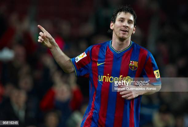 Lionel Messi of FC Barcelona celebrates after scoring during the La Liga match between Barcelona and Sevilla at the Camp Nou stadium on January 16...