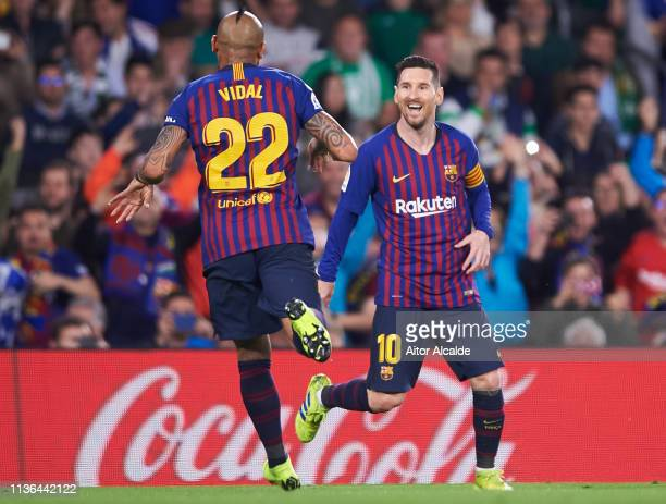 Lionel Messi of FC Barcelona celebrates after scoring goal during the La Liga match between Real Betis Balompie and FC Barcelona at Estadio Benito...
