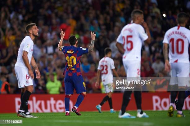 Lionel Messi of FC Barcelona celebrates after scoring goal during the Liga match between FC Barcelona and Sevilla FC at Camp Nou on October 06 2019...