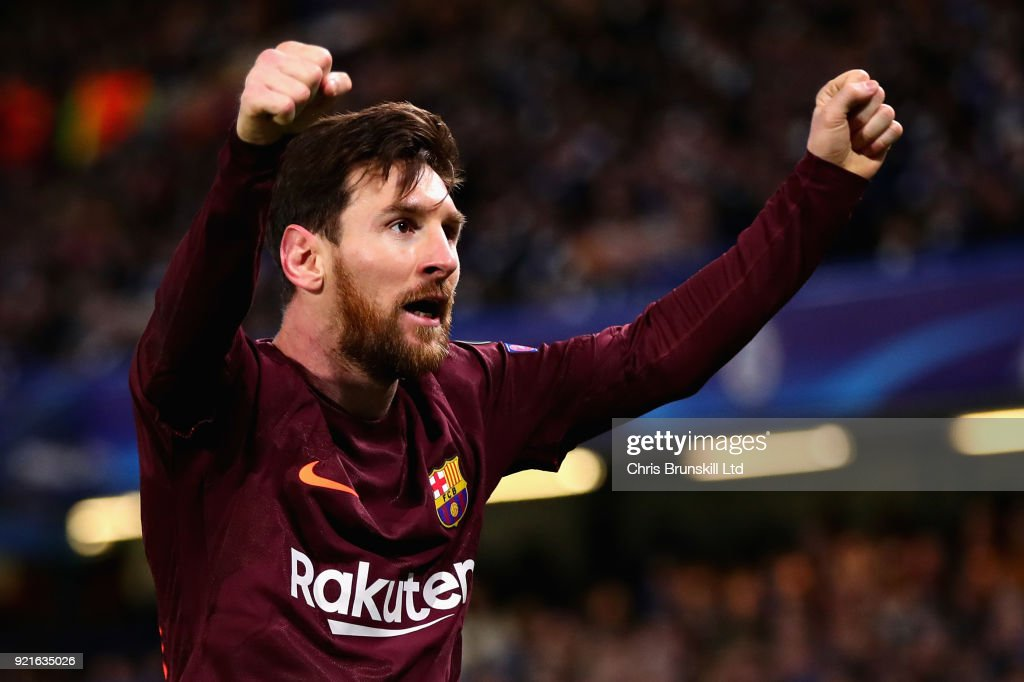 Lionel Messi of FC Barcelona celebrates after scoring his sides first goal during the UEFA Champions League Round of 16 First Leg match between Chelsea FC and FC Barcelona at Stamford Bridge on February 20, 2018 in London, United Kingdom.