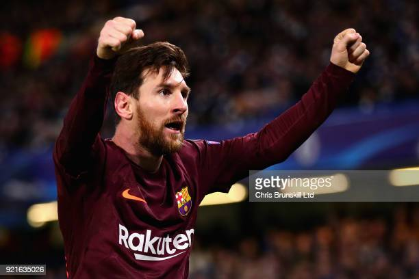 Lionel Messi of FC Barcelona celebrates after scoring his sides first goal during the UEFA Champions League Round of 16 First Leg match between...