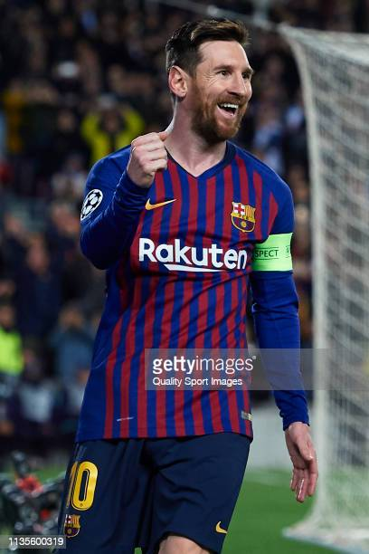 Lionel Messi of FC Barcelona celebrates after scoring his team's first goal during the UEFA Champions League Round of 16 Second Leg match between FC...