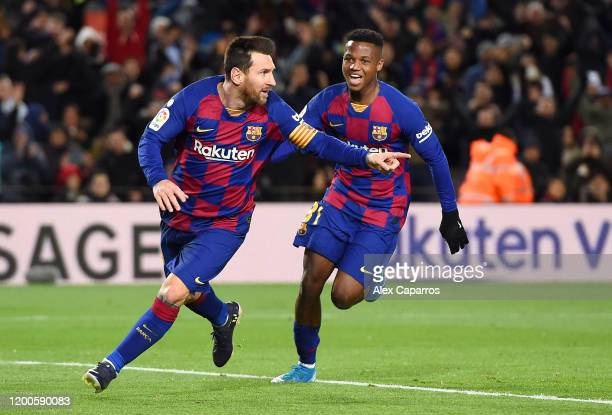Lionel Messi of FC Barcelona celebrates after scoring his team's first goal during the La Liga match between FC Barcelona and Granada CF at Camp Nou...