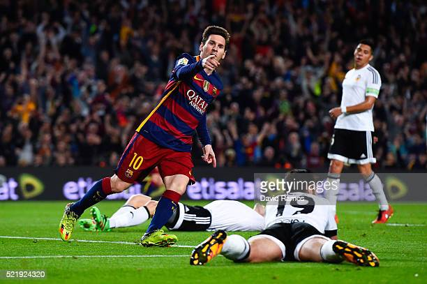 Lionel Messi of FC Barcelona celebrates after scoring his team's first goal during the La Liga match between FC Barcelona and Valencia CF at Camp Nou...