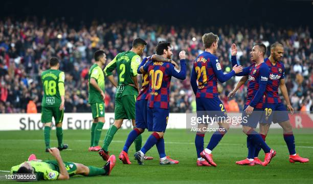 Lionel Messi of FC Barcelona celebrates after scoring his team's fourth goal during the La Liga match between FC Barcelona and SD Eibar SAD at Camp...