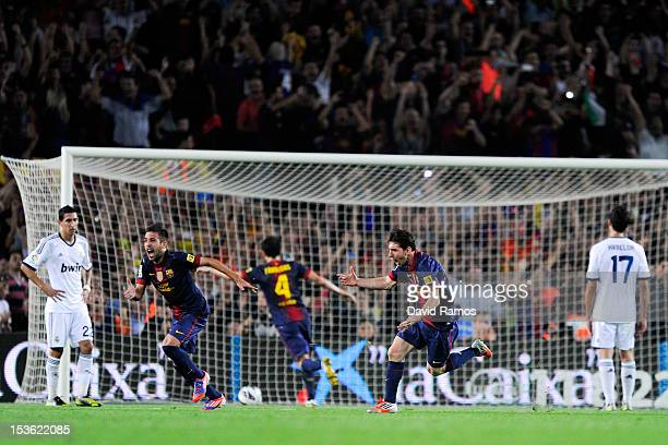 Lionel Messi of FC Barcelona celebrates after scoring his team's second goal during the La Liga match between FC Barcelona and Real Mdrid CF at Camp...
