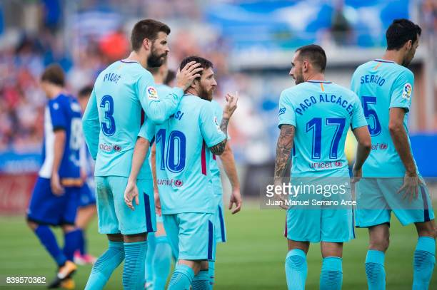 Lionel Messi of FC Barcelona celebrates after scoring his team's second goal during the La Liga match between Deportivo Alaves and Barcelona at...