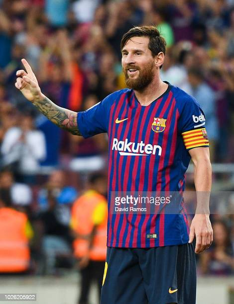Lionel Messi of FC Barcelona celebrates after scoring his team's sixth goal during the La Liga match between FC Barcelona and SD Huesca at Camp Nou...