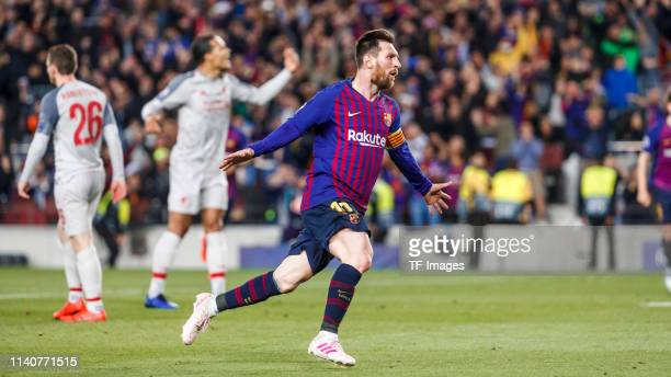 Lionel Messi of FC Barcelona celebrates after scoring his team's third goal during the UEFA Champions League Semifinal match between FC Barcelona and...