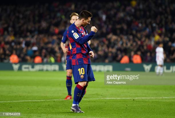 Lionel Messi of FC Barcelona celebrates after scoring his team's third goal during the Liga match between FC Barcelona and RCD Mallorca at Camp Nou...