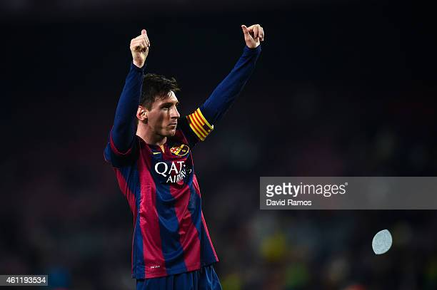 Lionel Messi of FC Barcelona celebrates after scoring his team's third goalduring the Copa del Rey Round of 16 First Leg match between FC Barcelona...