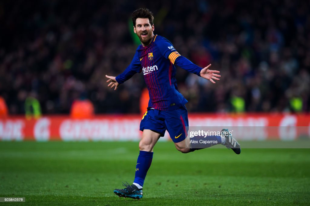 Lionel Messi of FC Barcelona celebrates after scoring his team's third goal during the La Liga match between Barcelona and Girona at Camp Nou on February 24, 2018 in Barcelona, Spain.