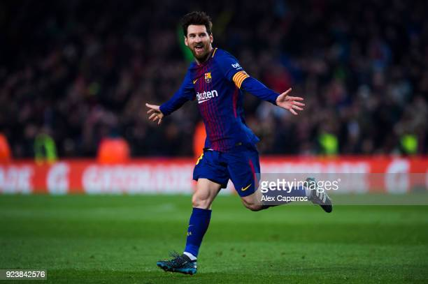 Lionel Messi of FC Barcelona celebrates after scoring his team's third goal during the La Liga match between Barcelona and Girona at Camp Nou on...
