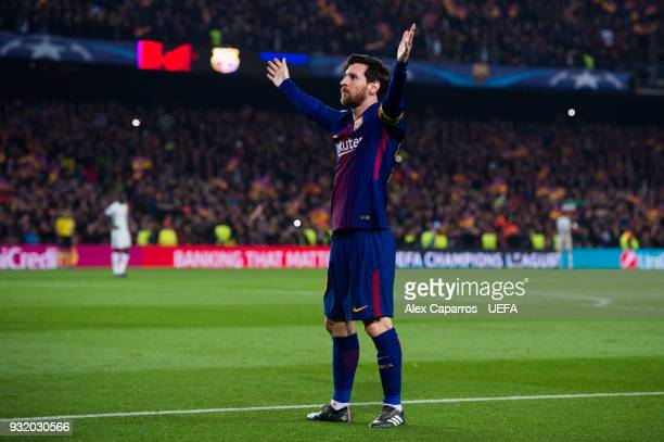 Lionel Messi of FC Barcelona celebrates after scoring his team's third goal during the UEFA Champions League Round of 16 Second Leg match between FC...