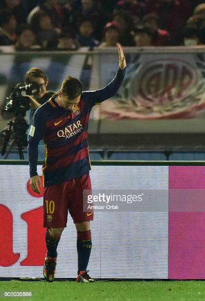 Lionel Messi of F.C Barcelona celebrates after scoring the first goal of his team during the FIFA Club World Cup final match between River Plate and...