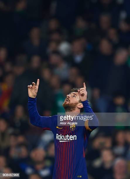 Lionel Messi of FC Barcelona celebrates after scoring the fourth goal for FC Barcelona during the La Liga match between Real Betis and Barcelona at...
