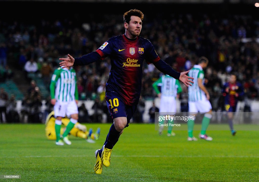 Lionel Messi of FC Barcelona celebrates after scoring the opening goal during the La Liga match between Real Betis Balompie and FC Barcelona at Estadio Benito Villamarin on December 9, 2012 in Seville, Spain.