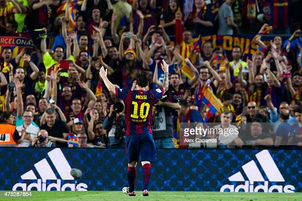 Lionel Messi of FC Barcelona celebrates after scoring the opening goal during the Copa del Rey Final between Athletic Club and FC Barcelona at Camp...