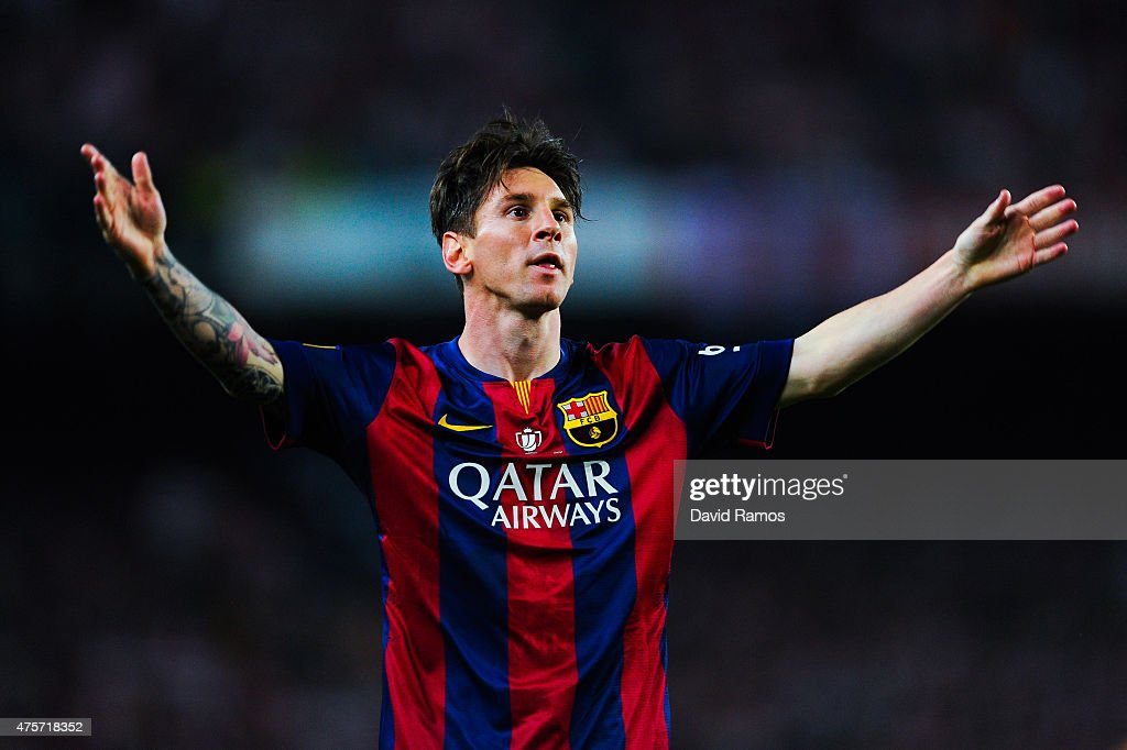Lionel Messi of FC Barcelona celebrates after scoring the opening goal during the Copa del Rey Final match between FC Barcelona and Athletic Club at Camp Nou on May 30, 2015 in Barcelona, Spain.