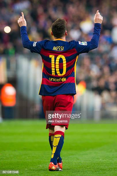 Lionel Messi of FC Barcelona celebrates after scoring the opening goal  during the La Liga match bcf724938f2df