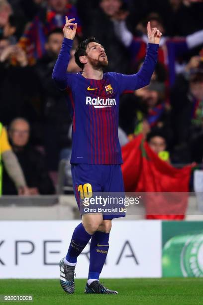 Lionel Messi of FC Barcelona celebrates after scoring the opening goal during the UEFA Champions League Round of 16 Second Leg match between FC...