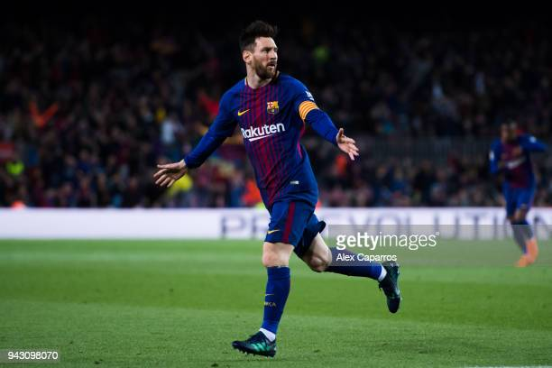 Lionel Messi of FC Barcelona celebrates after scoring the opening goal during the La Liga match between Barcelona and Leganes at Camp Nou on April 7...